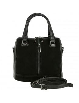 61c6e5f67e14 Женская сумка из кожи и замши 9544-M BLACK