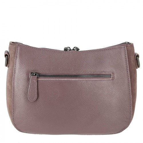 57d6ddafd756 Сиренево-розовая женская замшевая сумка с кожей 9902-1 D PINK ...